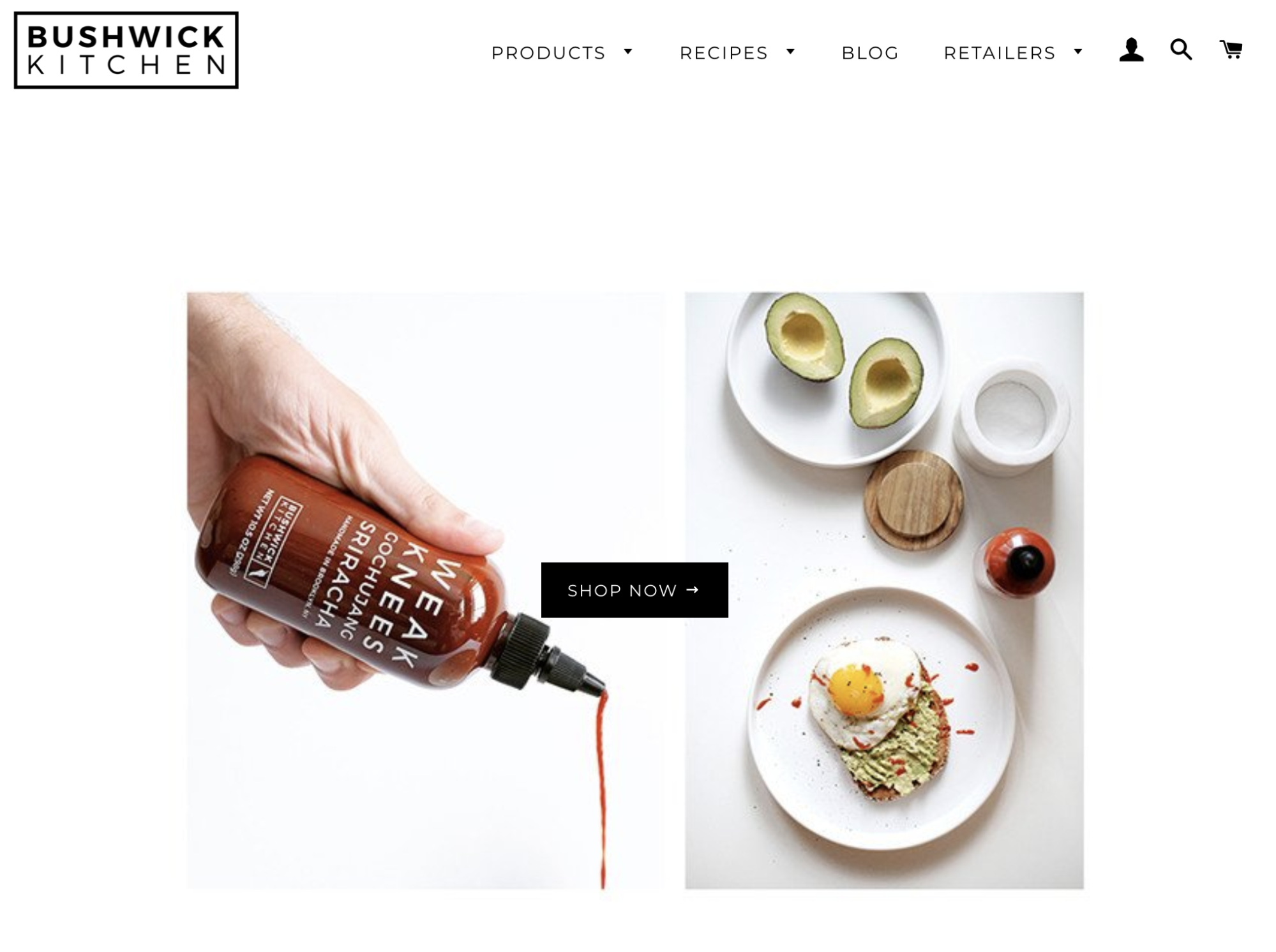 Screenshot showing landing page on bushwick kitchen