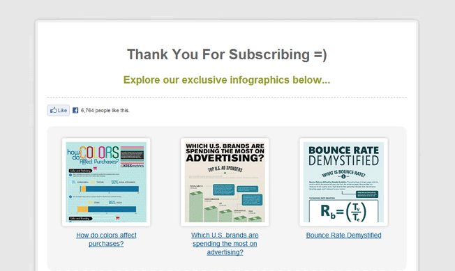 "Screenshot of a ""thank you for subscribing"" page featuring different pieces of content"
