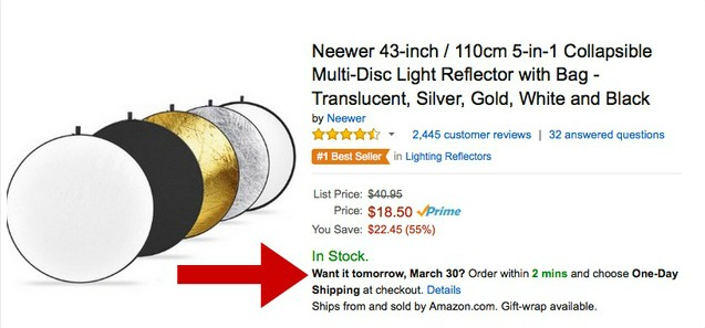 Screenshot of scarcity marketing in action on Amazon through shipping times