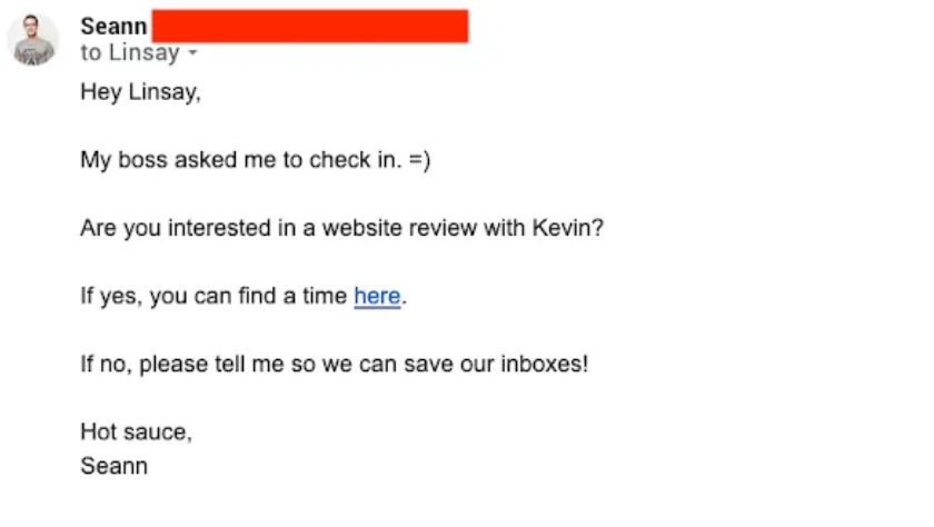 Follow-Up Email: Screenshot of email from Seann which includes a CTA to book a website review with someone from the Sumo team