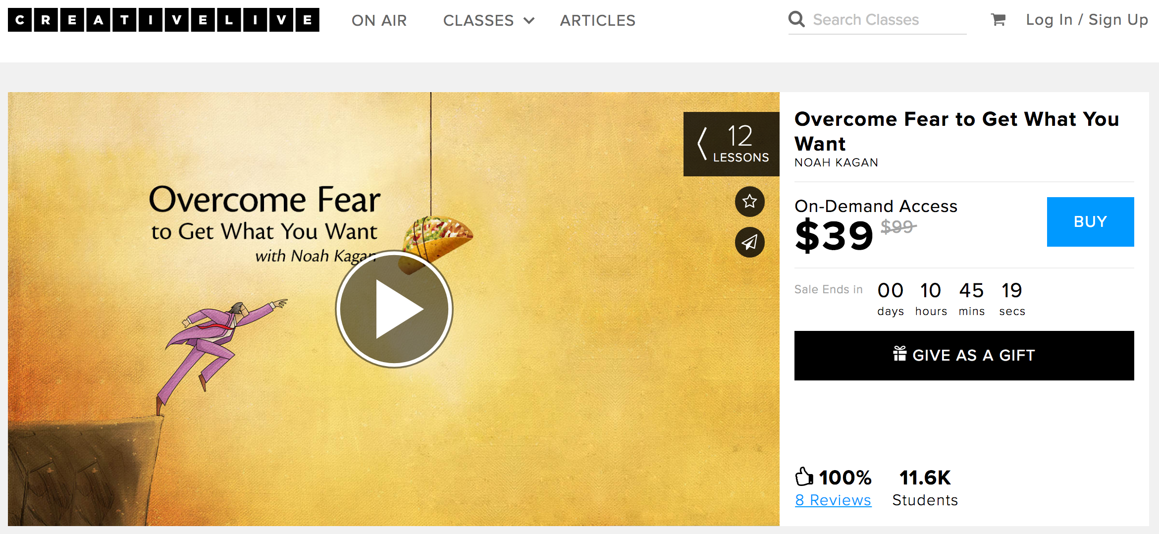 Screenshot showing a product on creativelive