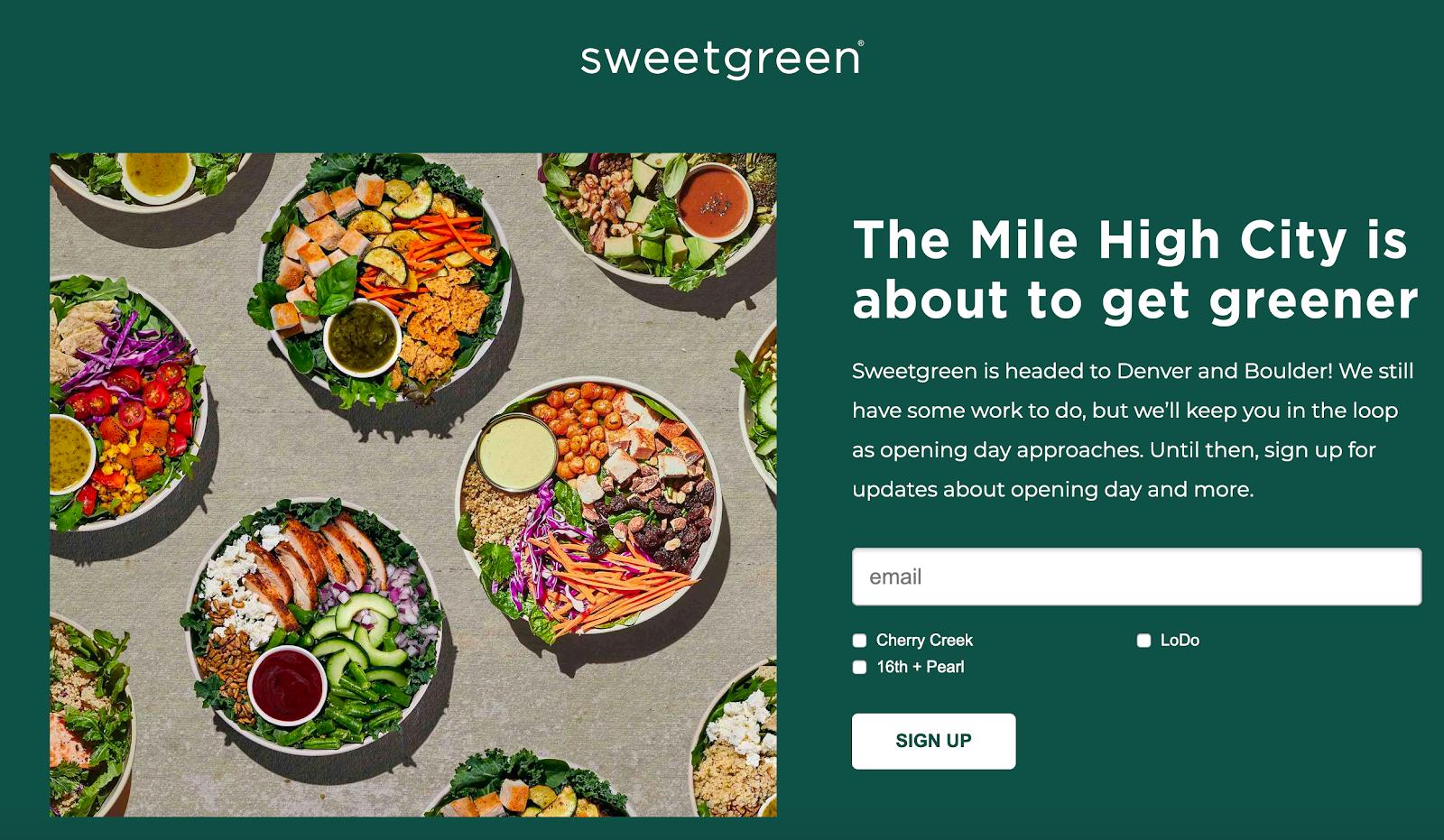 Sweetgreen landing page