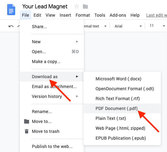 Screenshot of steps to download Google Doc as a PDF