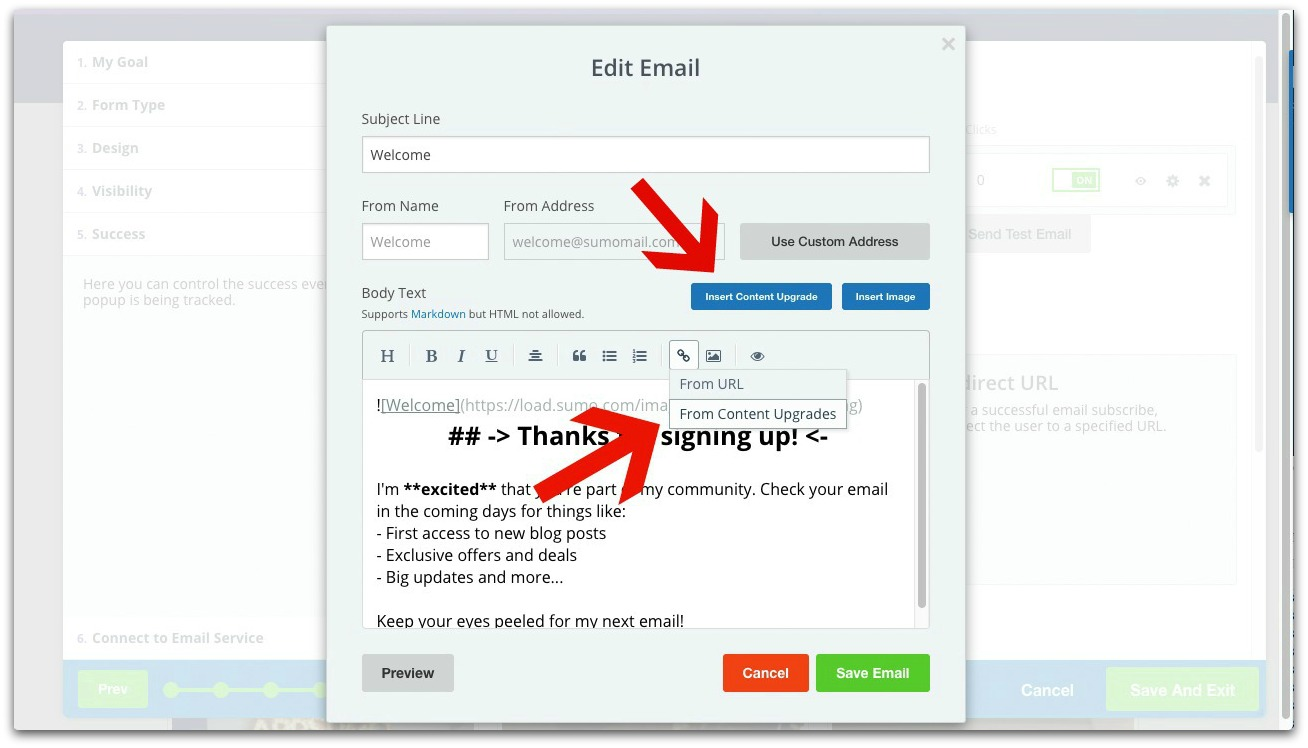 Screenshot showing Sumo email editor