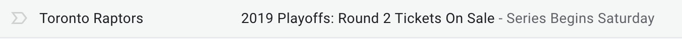 Screenshot of Toronto Raptors using the preview text to continue the subject line