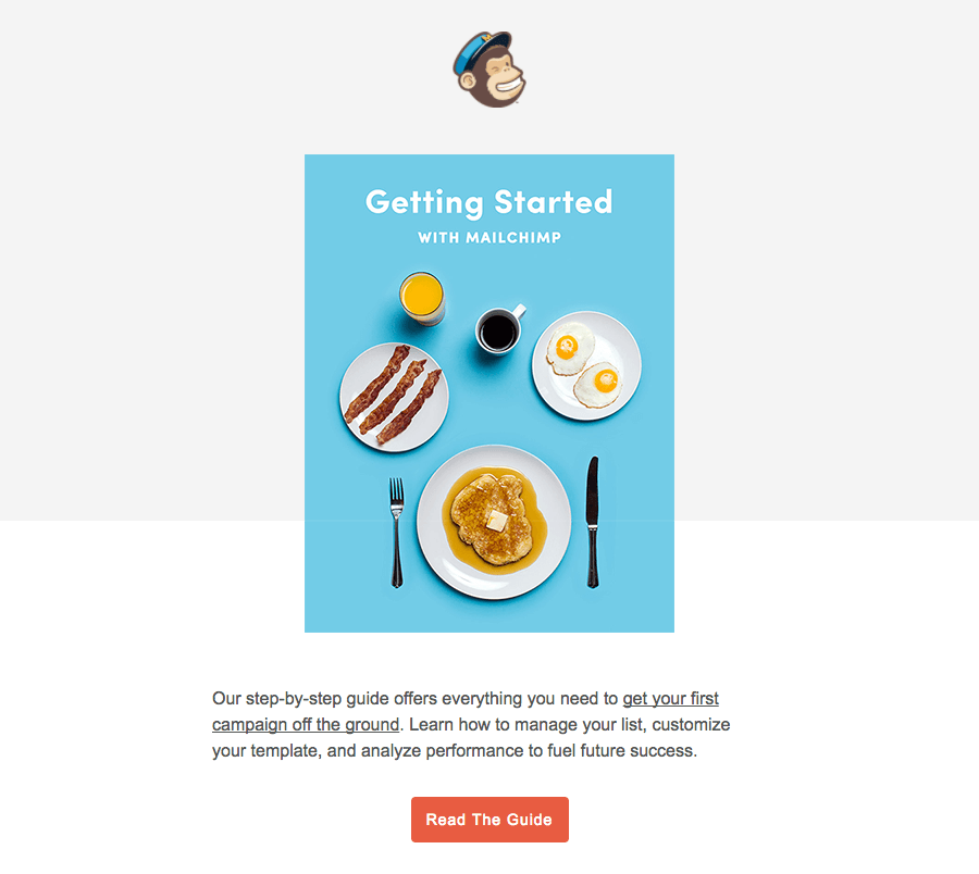 Screenshot showing an email sent by mailchimp