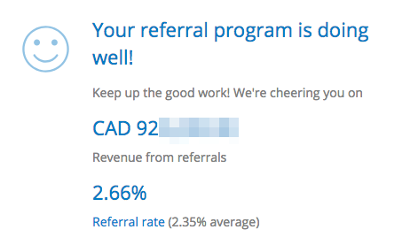 Screenshot showing referral program stats