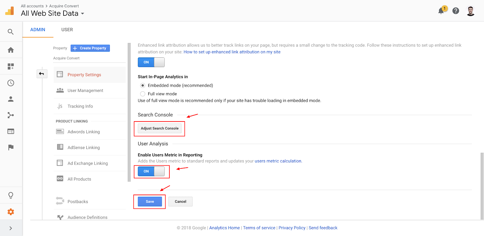 Screenshot showing a settings page on the Google Analytics dashboard