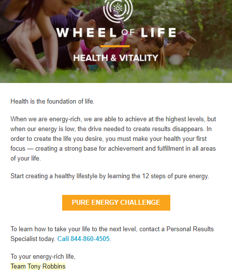 Screenshot of an email sent by Tony Robbins for wHEEL OF lIFE