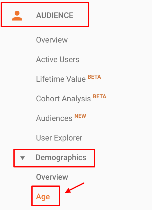 Screenshot showing a sidebar on the Google Analytics dashboard