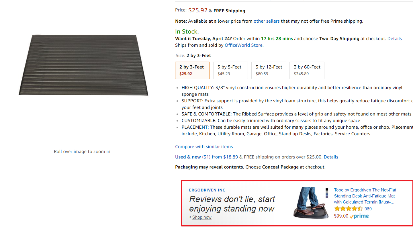 Screenshot showing a product page on amazon