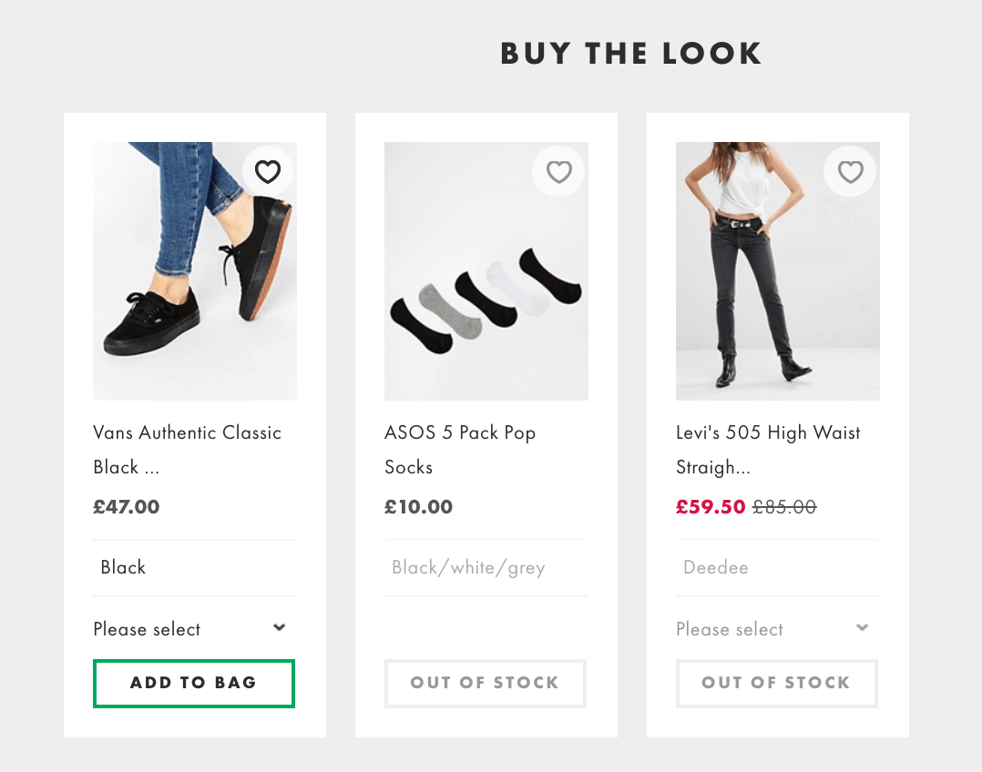 Screenshot showing three products side by side on an ecommerce store, with two out of them out of stock