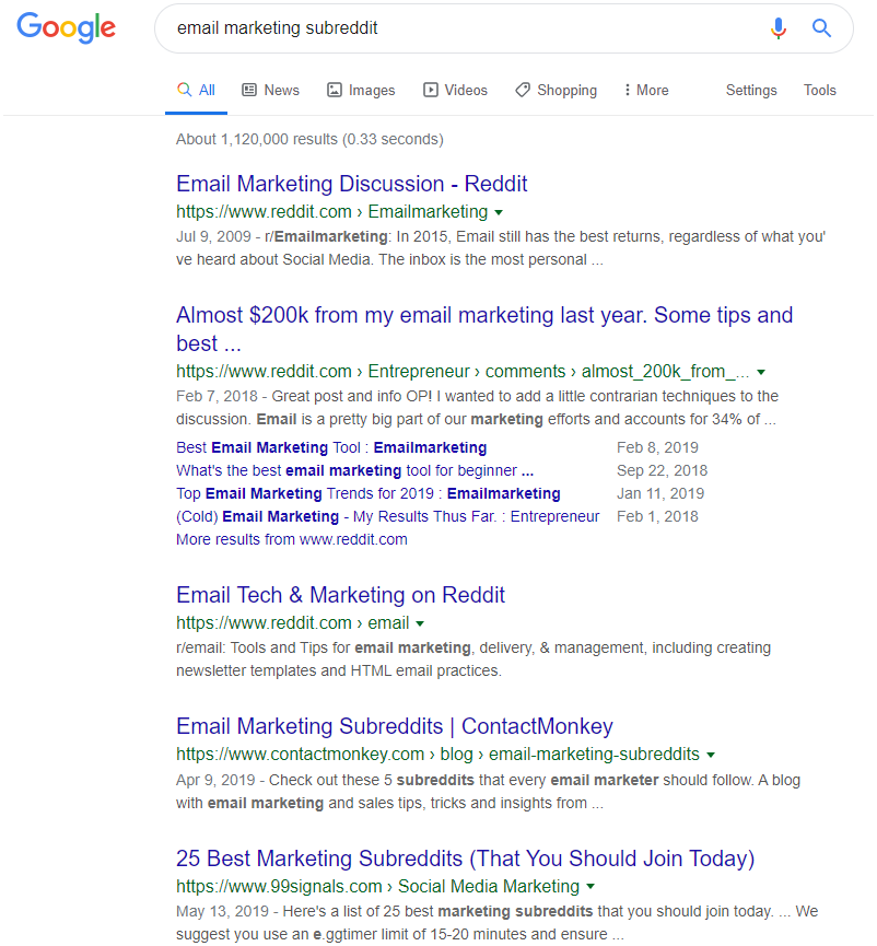 "B2B Email Marketing: Screenshot of search results on Google for ""email marketing subreddit"" search term"
