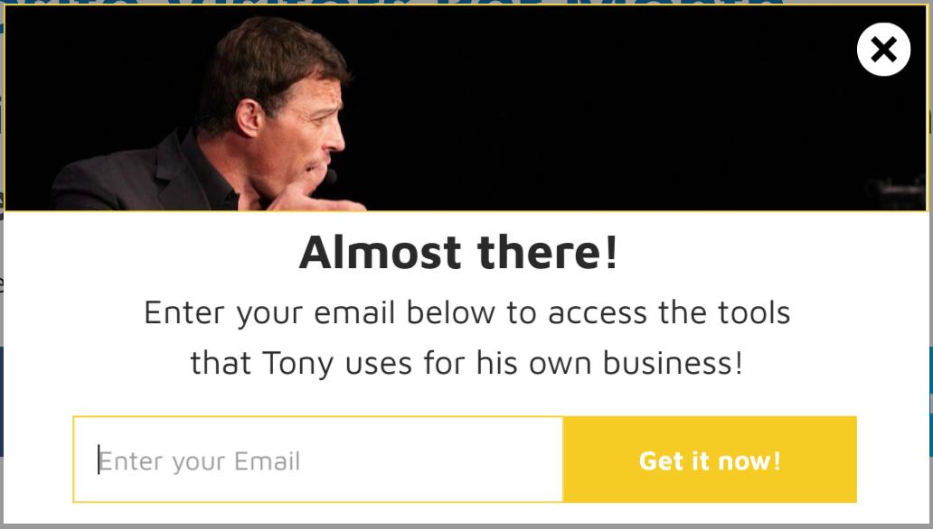 Screenshot of a content upgrade on Tony Robbins