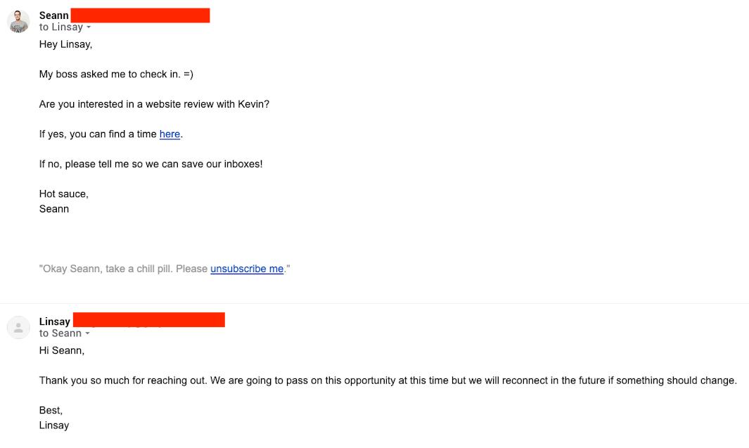 Screenshot of follow-up email #5