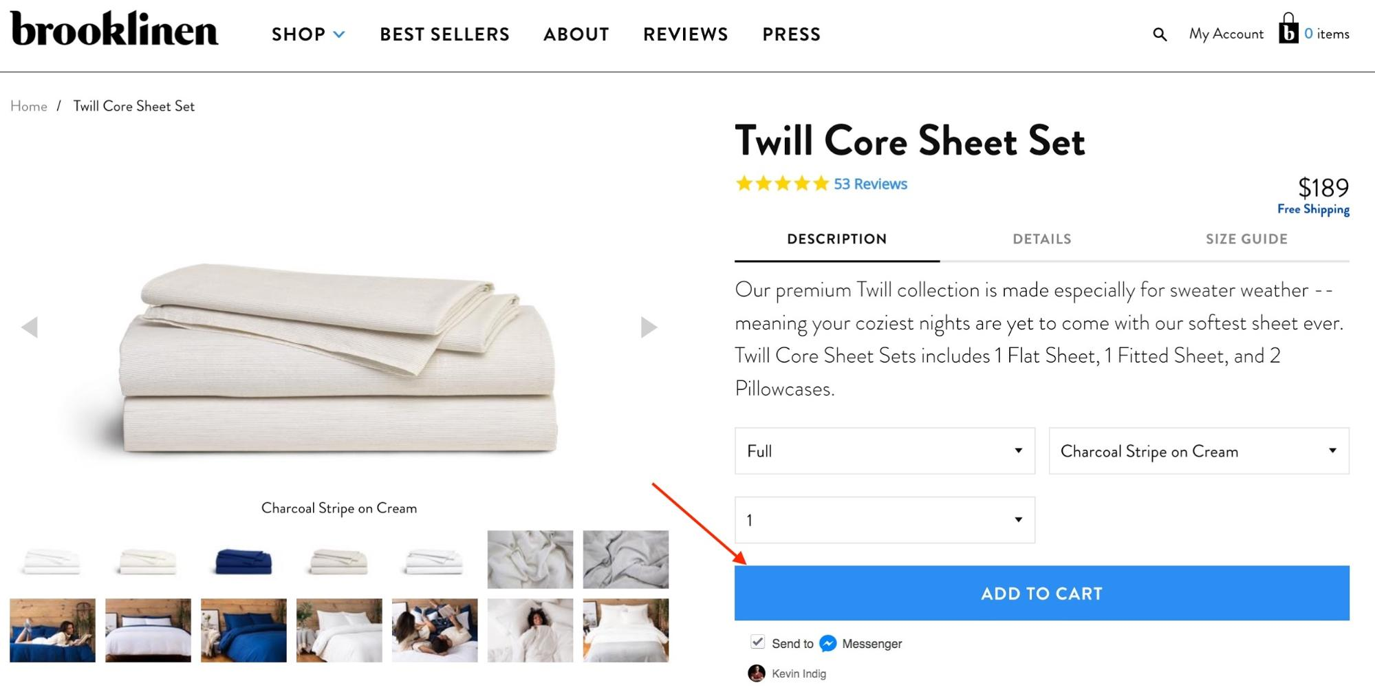 Screenshot showing an ecommerce product page