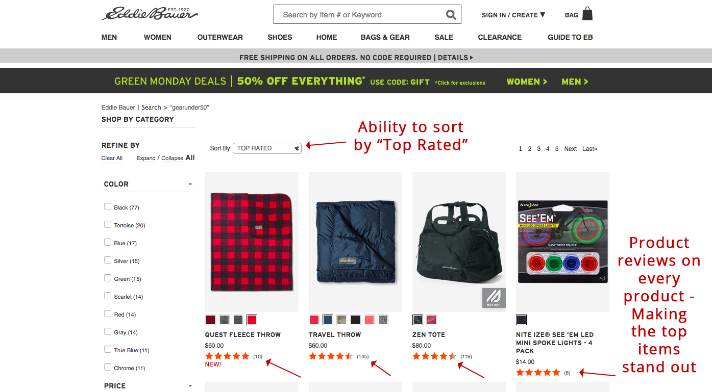 Screenshot showing products on an ecommerce store