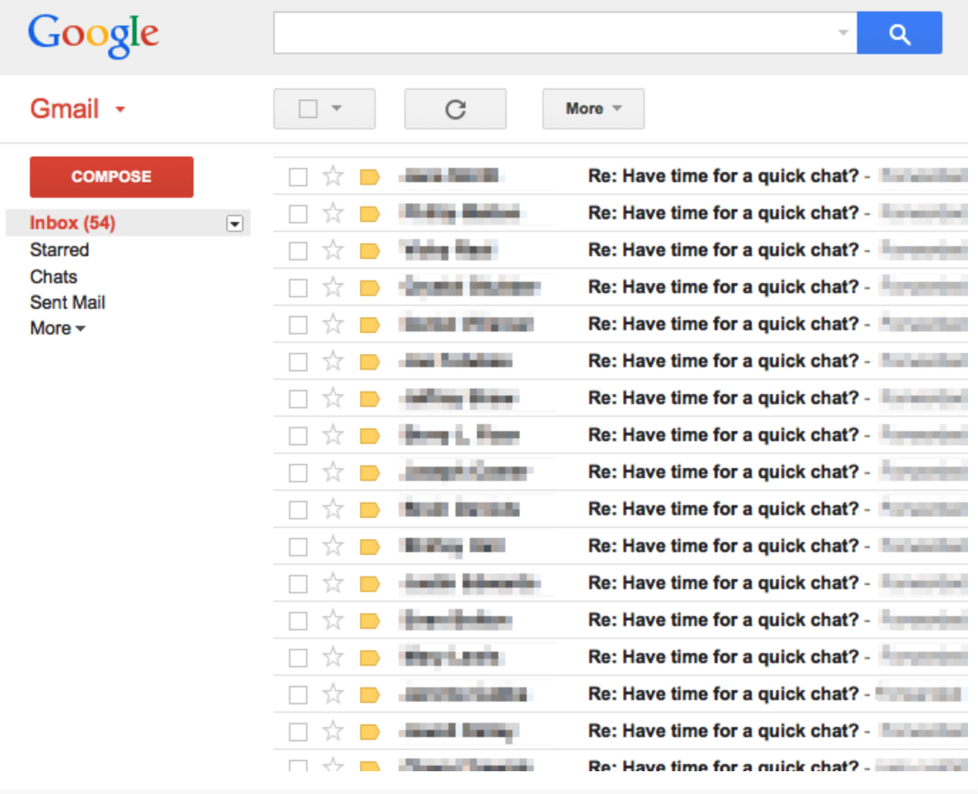 Screenshot showing Google inbox