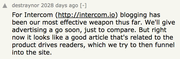 Screenshot showing a reddit comment by intercom, about growth