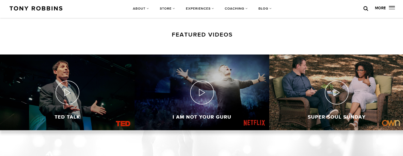 Screenshot of featured videos on Tony Robbins