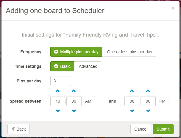 Screenshot showing pinterest scheduler