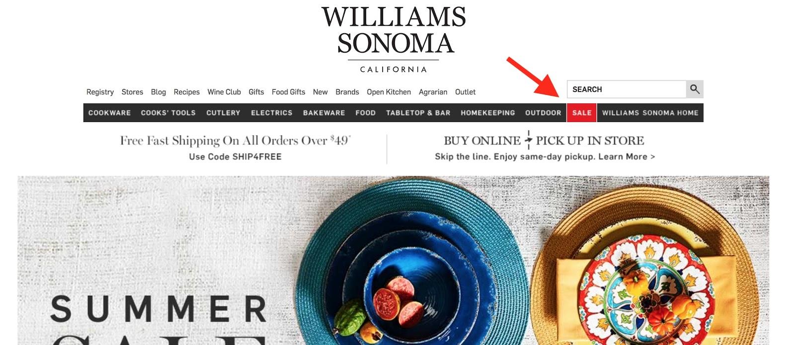 Screenshot showing Williams Sonoma