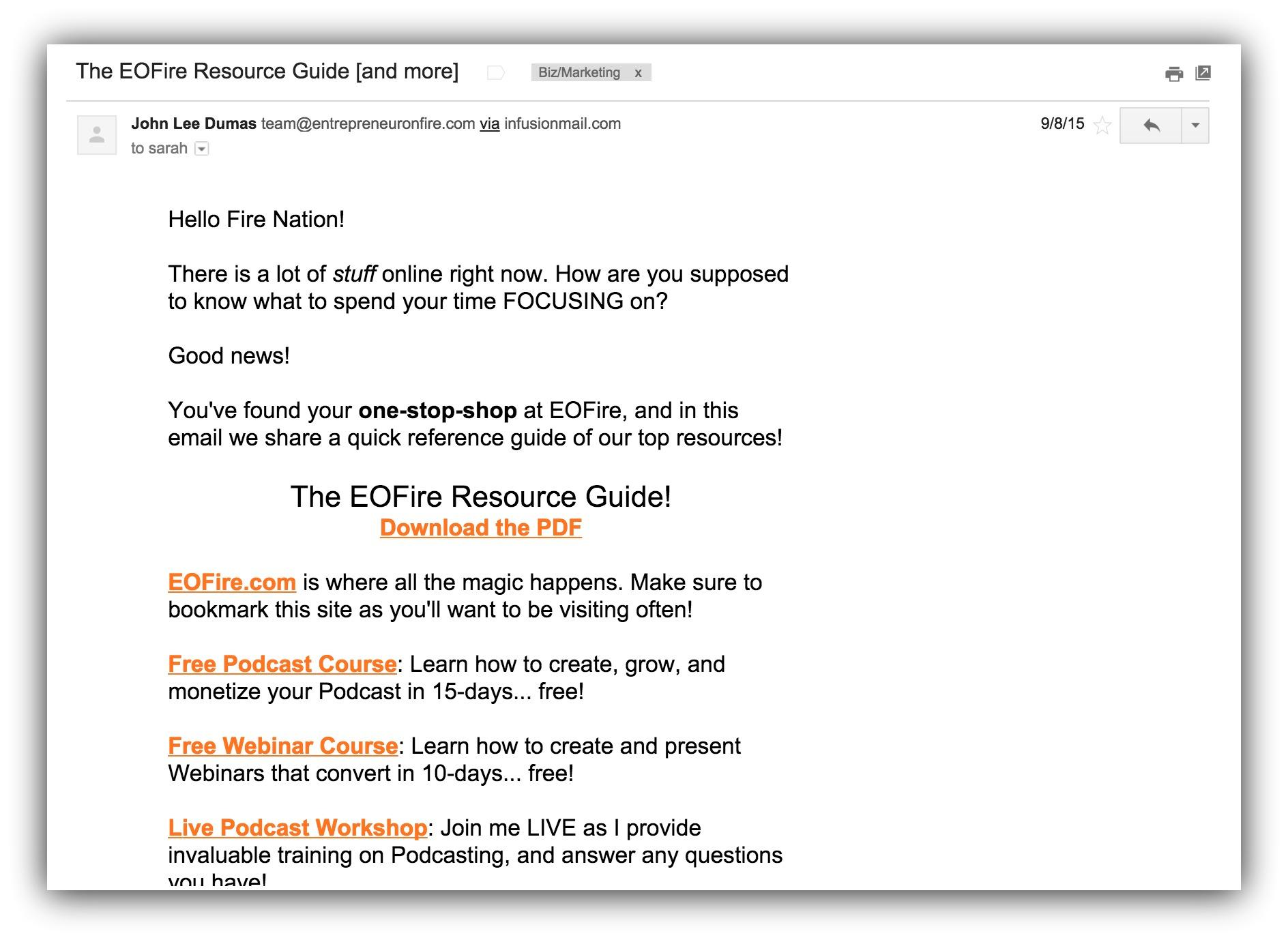 Screenshot of an email sent by entrepreneuronfire.com