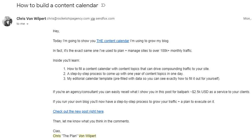 B2B Email Marketing: Screenshot of Chris von Wilpert