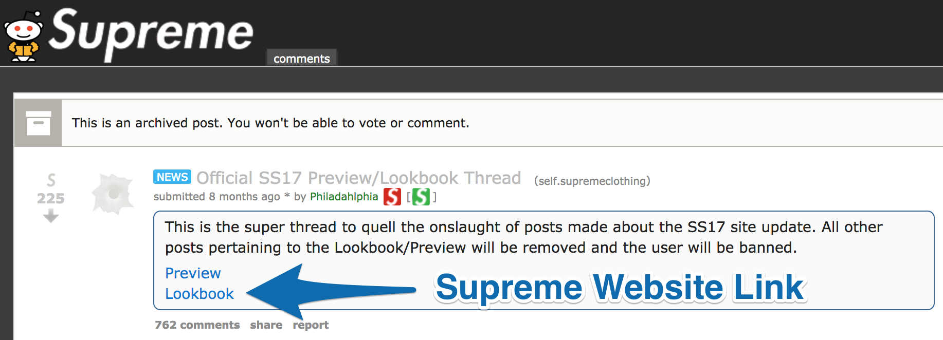 Screenshot on the Supreme subreddit with a link to the new Supreme lookbook