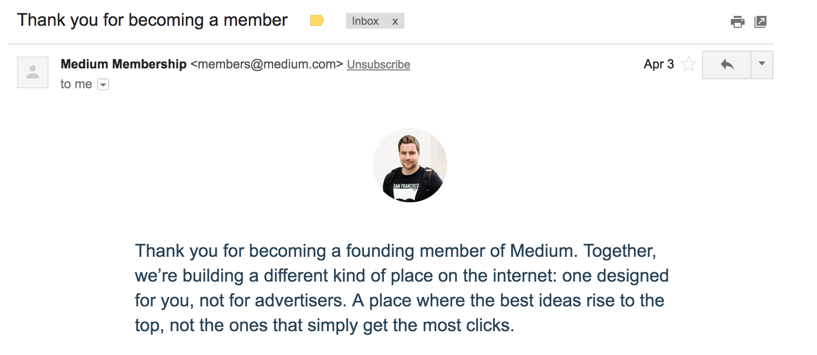 Medium thank you email subject example