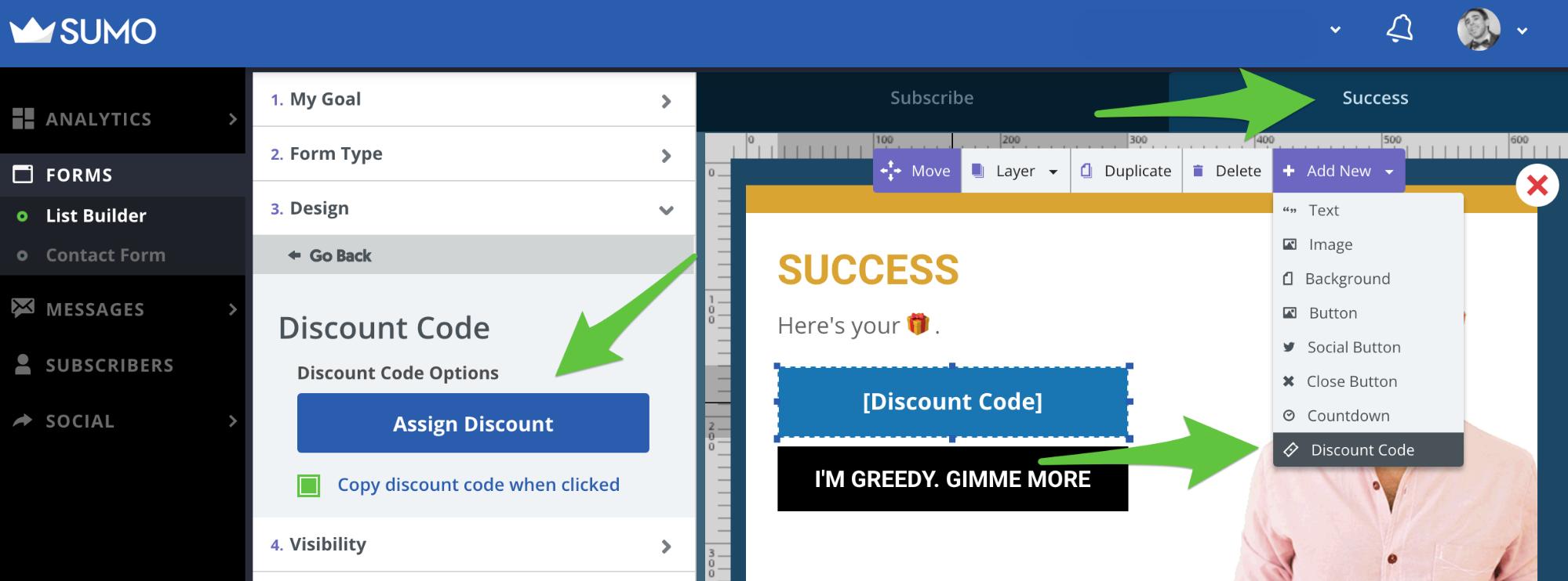 Screenshot showing Sumo settings