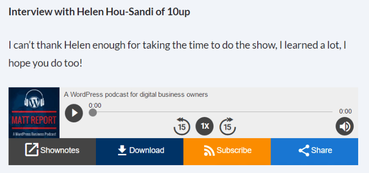 Screenshot of a wordpress plugin that adds a podcast listening widget on your website