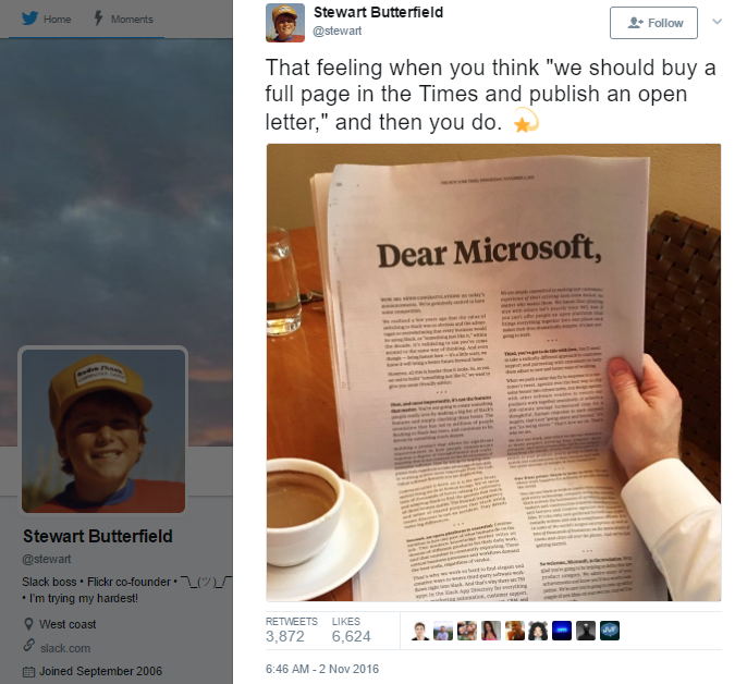 Screenshot showing a tweet about an open letter to Microsoft on a NY Times newspaper