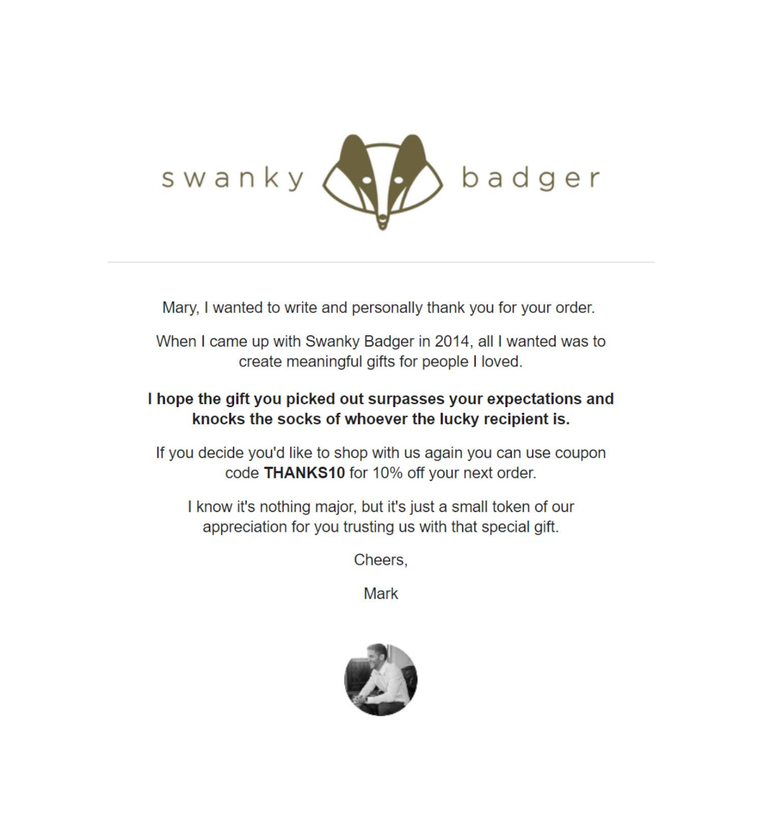 THE LIGHTLY PERSONALIZED THANK YOU CONFIRMATION EMAIL BY SWANKY BADGER