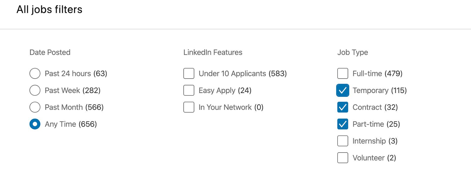 Screenshot of LinkedIn job search feature.