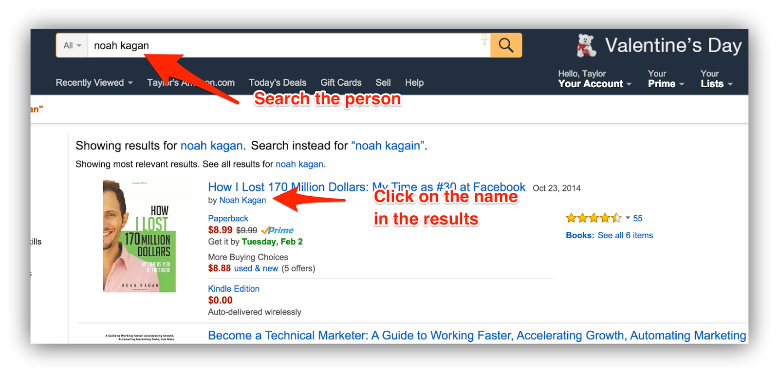 Screenshot of amazon search results for noah kagan