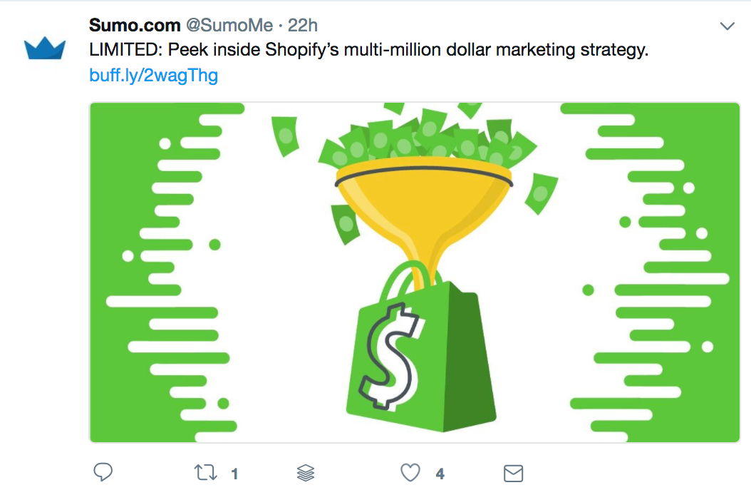 Screenshot showing a tweet by Sumo promoting a piece of content