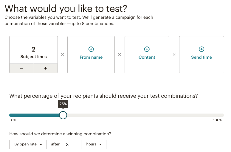 Screenshot of Mailchimp split test different versions of email subject line