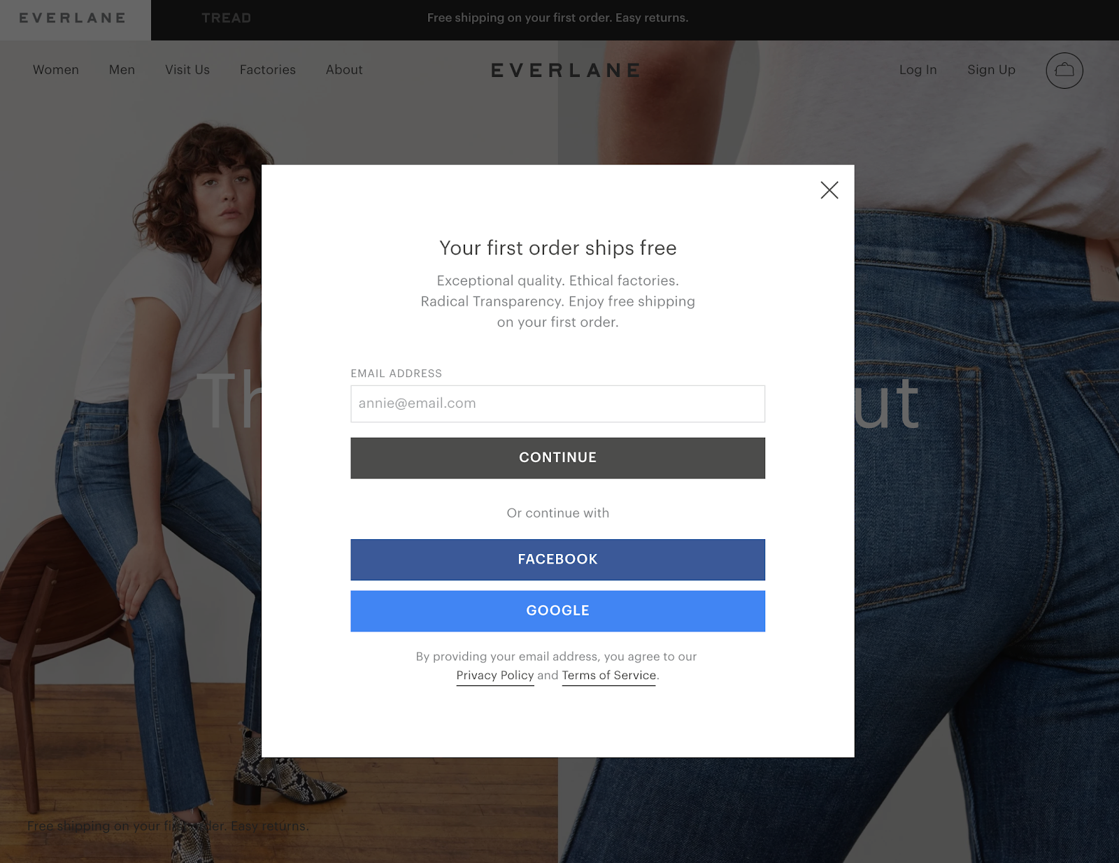 Screenshot of Everlane website
