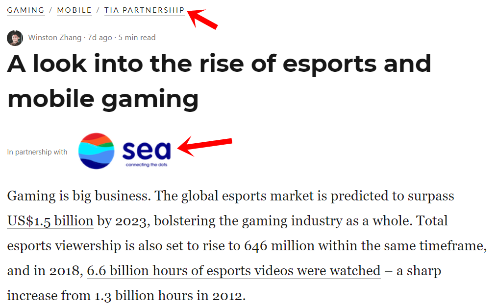 Article on esports and mobile gaming from Garena partners with media publication Tech In Asia