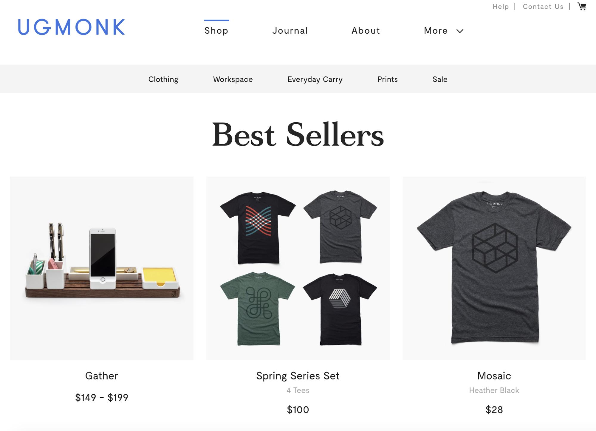 Screenshot showing bestsellers on Ugmonk