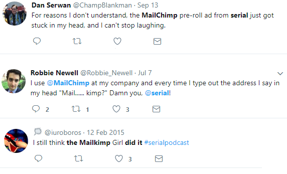 Screenshot showing different tweets about mailchimp
