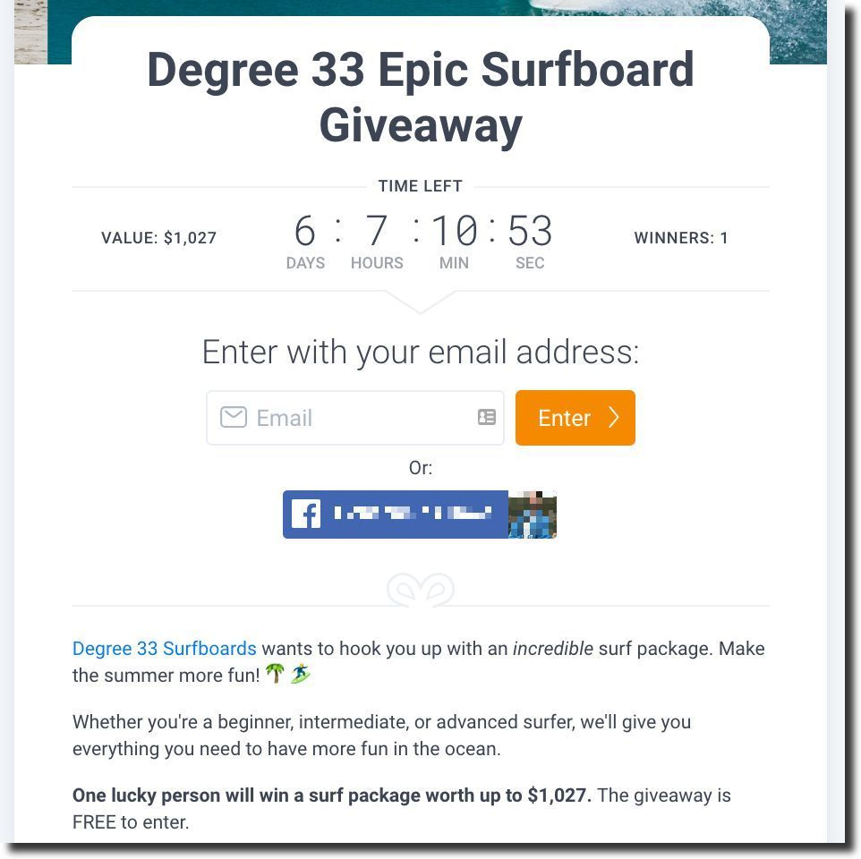 Screenshot showing a sweepstakes entry form