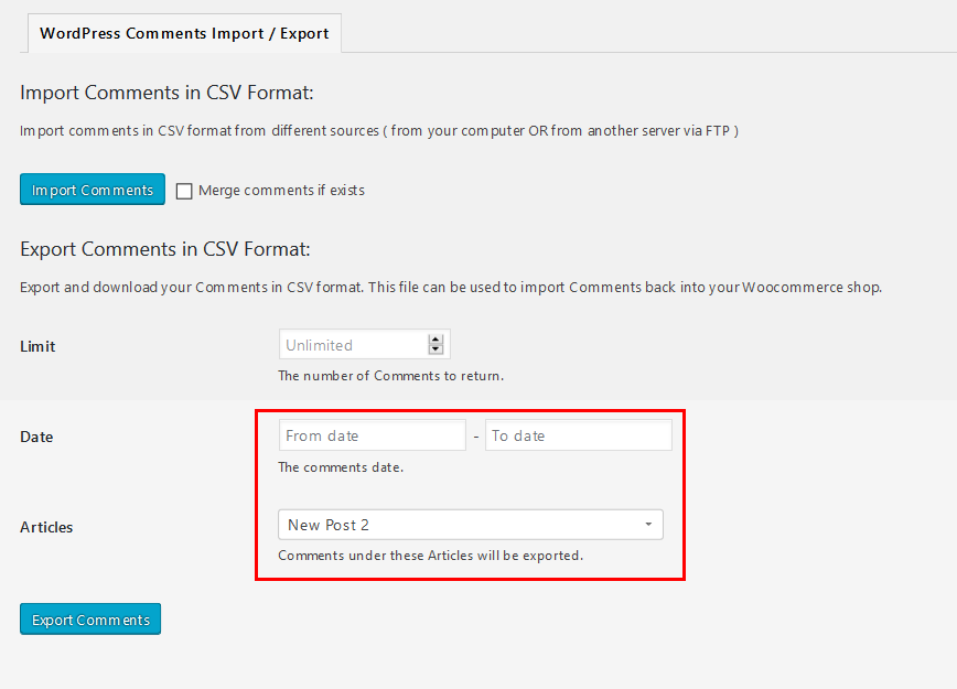 Screenshot of steps to use the WordPress Comments Import & Export plugin