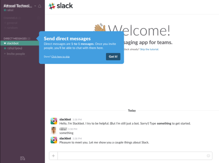 Screenshot showing the on-site tutorial by Slack after signing up
