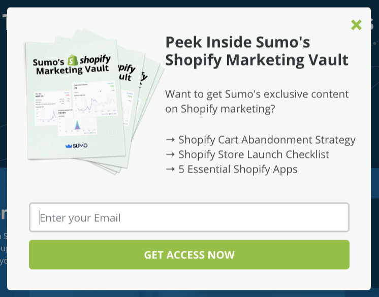 Screenshot of Sumo exit popup asking abandoning visitors to join email list by offering Shopify Marketing Vault.