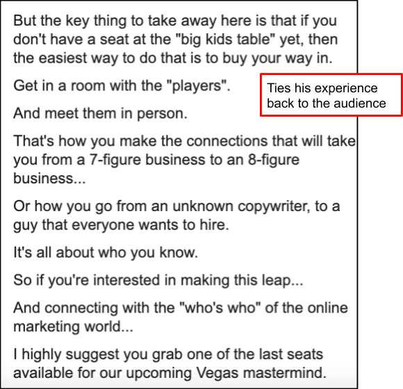 Screenshot of email example ties the story back to the reader