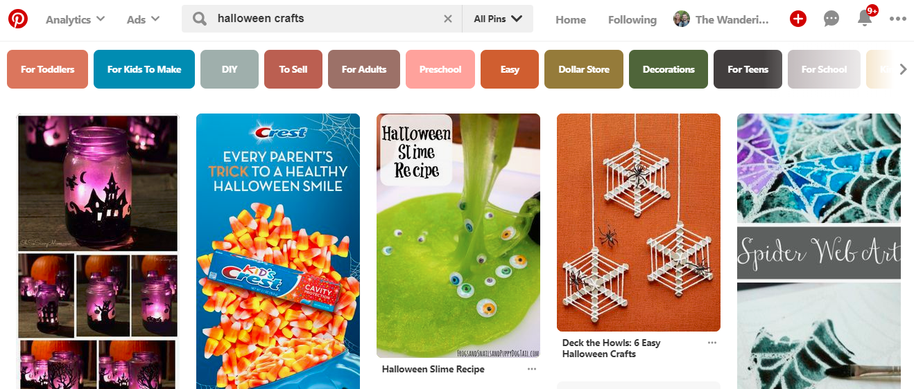 "Screenshot showing pinterest search results for ""Halloween crafts"""