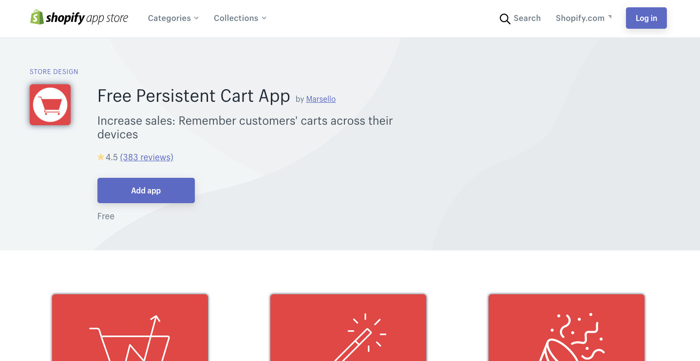 Free Persistent Cart App shopify app