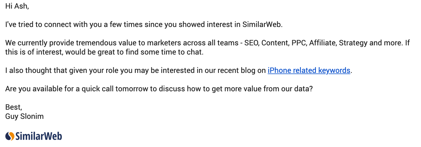 Screenshot of email from SimilarWeb